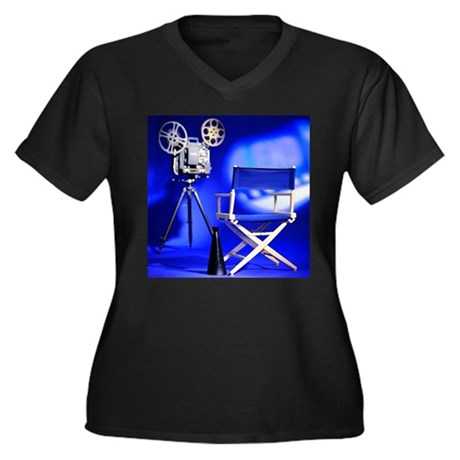 Director Set Women's Plus Size V-Neck Dark T-Shirt