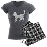 White Cat Icon Women's Charcoal Pajamas