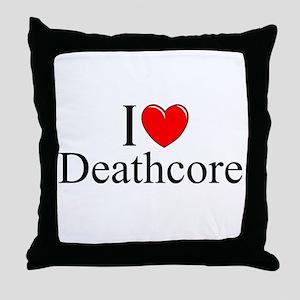 """I Love (Heart) Deathcore"" Throw Pillow"