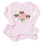 Triplet Bees Toddler Pink Pajamas