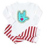 Aqua Dotty Love Hand Baby Pajamas