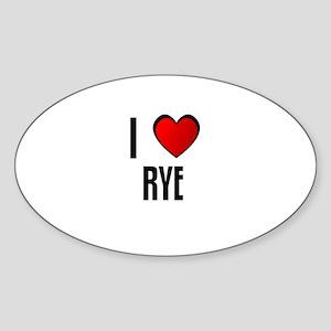 I LOVE RYE Oval Sticker