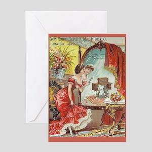 Vintage sewing machine greeting cards cafepress vintage sewing machine print greeting card m4hsunfo