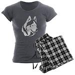 Siberian Husky Sled Dog Women's Charcoal Pajamas