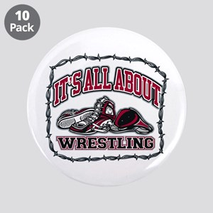 """It's All About Wrestling 3.5"""" Button (10 pack)"""