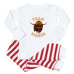 Team Ginger Scottish Highland Cow Baby Pajamas