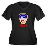HDNY Women's Plus Size V-Neck Dark T-Shirt