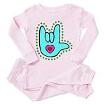 Aqua Bold Love Hand Toddler Pink Pajamas