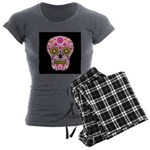 Pink Mexican Flower Skull Women's Charcoal Pajamas