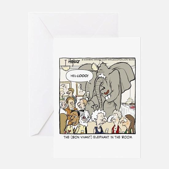 Bon Vivant Elephant Greeting Card