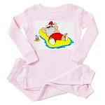 Sunbathing Santa Toddler Pink Pajamas