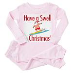 Santa Surfing Toddler Pink Pajamas
