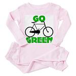Go Green Bicycle Ecology Toddler Pink Pajamas