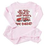 Daddy Fire Truck Toddler Pink Pajamas