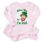 Kiss Me I'm Irish Toddler Pink Pajamas