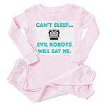 Can't sleep, evil robots Toddler Pink Pajamas
