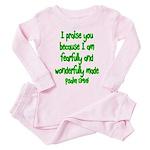 Psalm 139:14 Toddler Pink Pajamas