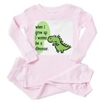 I wanna be a dinosaur Toddler Pink Pajamas