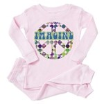 Retro Peace Sign Imagine Toddler Pink Pajamas