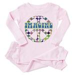 Retro Peace Sign Imagine Toddler Pink Pajamas