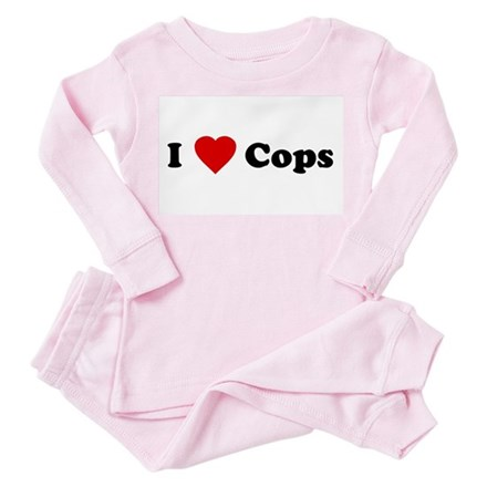 I Love [Heart] Cops Toddler Pink Pajamas