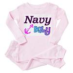 Navy Baby pink anchor Toddler Pink Pajamas