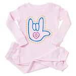 Blue Bold Love Hand Toddler Pink Pajamas