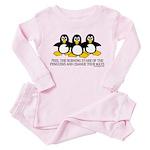 Burning Stare Penguins Toddler Pink Pajamas