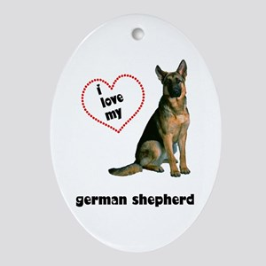 German Shepherd Lover Oval Ornament