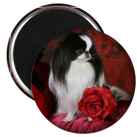 "Japanese Chin & Rose 2.25"" Magnet (100 pack)"