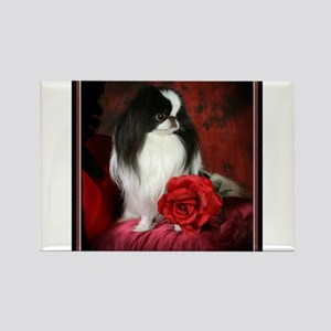 Japanese Chin & Rose Rectangle Magnet