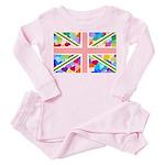 Heart filled Union Jack Flag Toddler Pink Pajamas