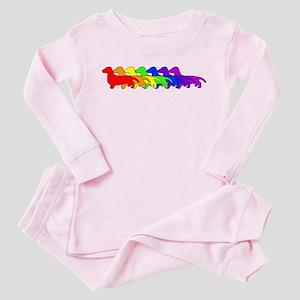 Rainbow Dachshund Toddler Pink Pajamas