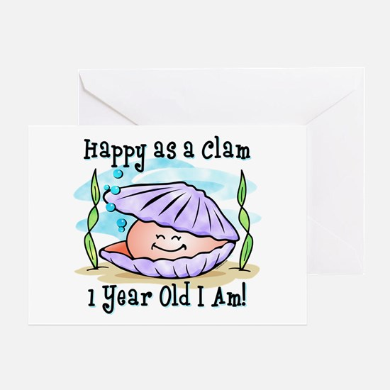 Happy Clam 1st Birthday Greeting Card