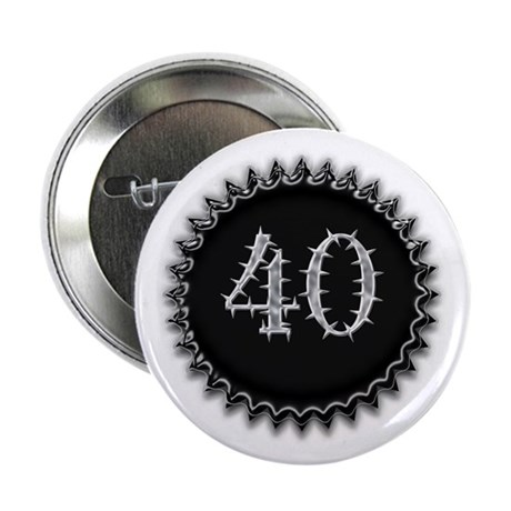 "Black 40th Birthday 2.25"" Button (100 pack)"