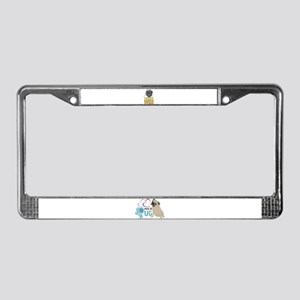 phone home pug dog look License Plate Frame