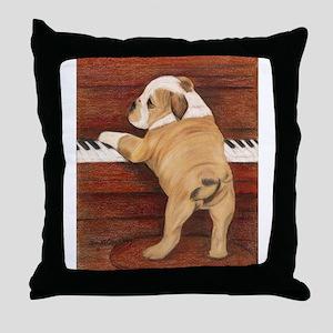 Piano Pup Throw Pillow