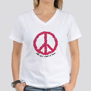 Hearts Peace Sign Women's V-Neck T-Shirt