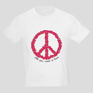 Hearts Peace Sign Kids Light T-Shirt