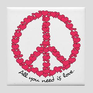 Hearts Peace Sign Tile Coaster