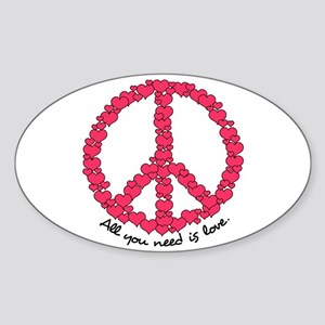 Hearts Peace Sign Oval Sticker