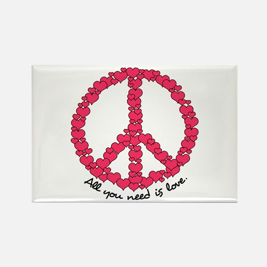 Hearts Peace Sign Rectangle Magnet (10 pack)