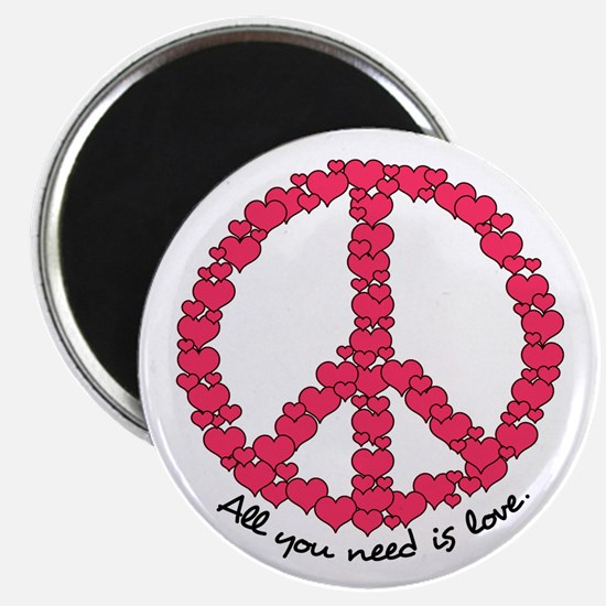 """Hearts Peace Sign 2.25"""" Magnet (100 pack)"""