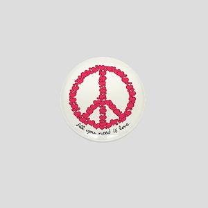 Hearts Peace Sign Mini Button