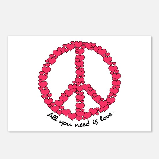 Hearts Peace Sign Postcards (Package of 8)