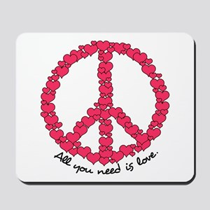 Hearts Peace Sign Mousepad