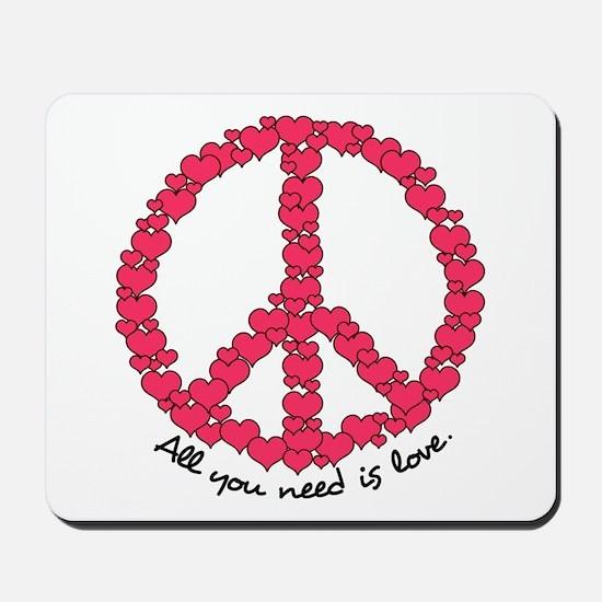 Hearts Peace Sign Mousepad