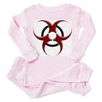 3D Biohazard Symbol Toddler Pink Pajamas