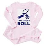 How I Roll - Shocking Biker Toddler Pink Pajamas