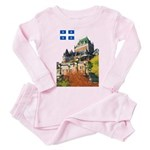 Frontenac Castle and Flag Toddler Pink Pajamas